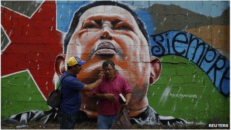 Hugo Chavez' mural in Caracas