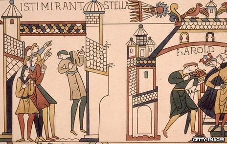 A section of the Bayeux tapestry featuring Halley's comet