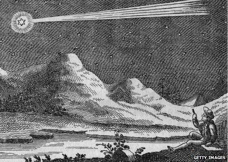 A 19th Century engraving of a comet