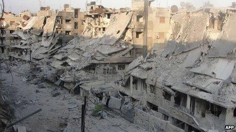 Destroyed buildings in Homs, Syria. File photo