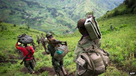 M23 rebels in the hills of eastern DR Congo (November 2012)