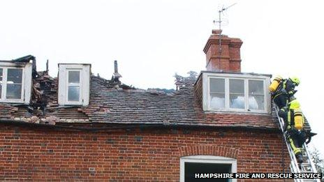 Fire damage at Appleshaw house
