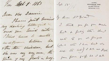 Letters between Charles Darwin and Joseph Hooker (courtesy Darwin estate and Cambridge University Library)