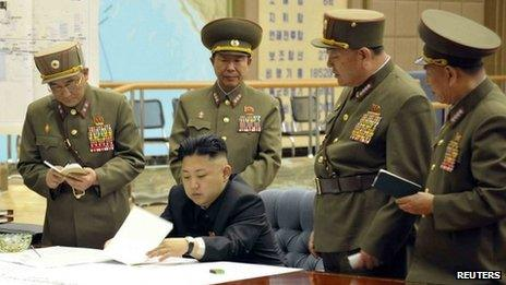 North Korean Kim Jong-un meets military officials (Unverified picture released by KCNA news agency 29 March)
