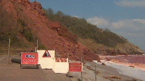 Landslip at Oddicombe beach