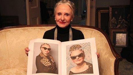 Joyce Carpati shows off the images used in the Karen Walker campaign