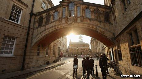 Students walk under the Bridge of Sighs along New College Lane on March 22, 2012 in Oxford, England.