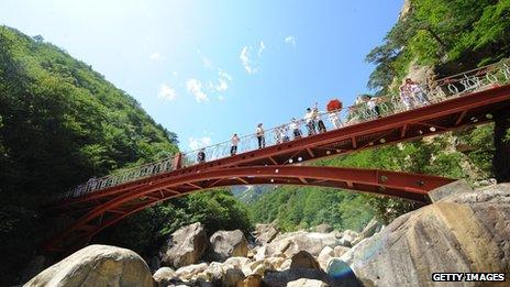 Tourists on a bridge at Mount Kumgang tourist region