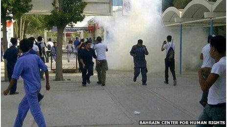 Image purporting to show tear gas at Jabreya school, Bahrain (16/04/13)