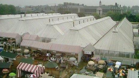Overview of the Great Pavilion at Chelsea Flower Show, 1980