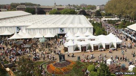 Overview of the Great Pavilion at Chelsea Flower Show, 2012