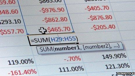Screengrab of an Excel spreadsheet