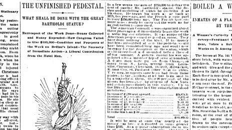 Image of the Statue of Liberty printed in The New York World newspaper