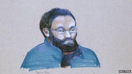 An artist's sketch shows Chiheb Esseghaier making his first court appearance in Montreal on 23 April 2013
