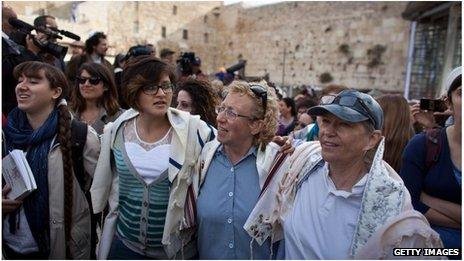 Women of the Wall at the Western Wall in Jerusalem (11 April 2013)