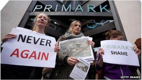 Protesters outside Primark in London