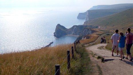 The path and cliffs photographed in 2008