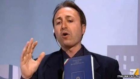 Marino Mastrangeli appearing on Italian LA7 TV (Image: Italian LA7 TV)