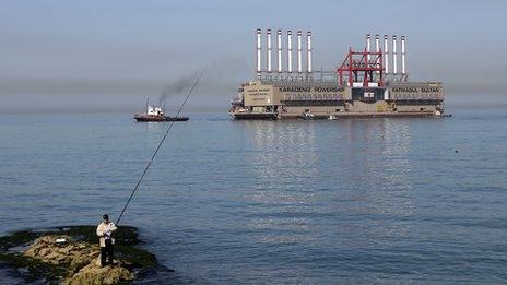 Turkish power ship off the coast of Lebanon