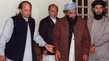 Nawaz Sharif with at his residence in Islamabad with Afghan warlords and religious leaders: Pir Sayed Ahmed Gillani, of Jabah Mahaz-e-Milli-e-Islami party, Mohammad Nabi Mohammadi, of the Harakat-e-Enquelab-e-Islami party and Gulbuddin Hekmatyar, leader of the fundamentalist Hezb-i-Islami (Islamic Party), during the Afghan peace talks.
