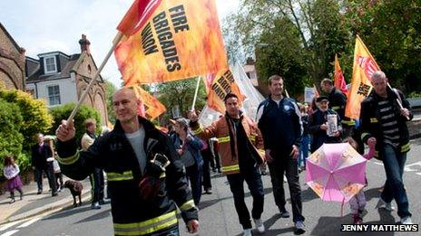 Protesters marched from Oriel Place to Belsize Park fire station