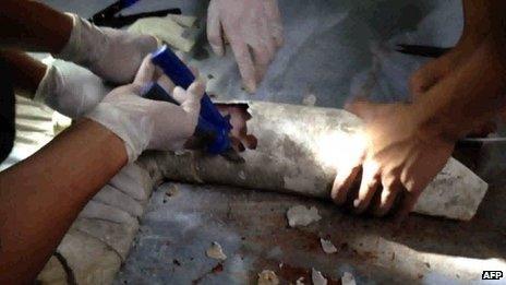 Hospital staff cut into pipe
