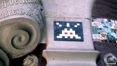 Space Invaders art on Palau de la Musica, Barcelona