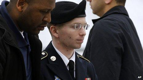 Bradley Manning being escorted by an officer