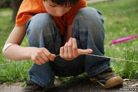 Generic photo of boy threading string through his hands