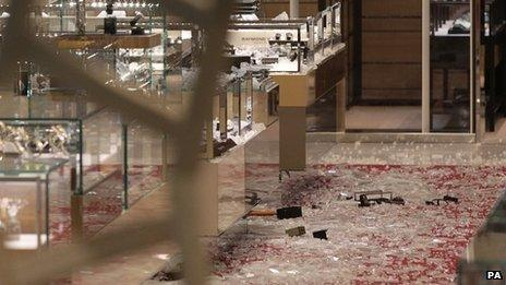 The scene of a smash and grab robbery in Selfridges,