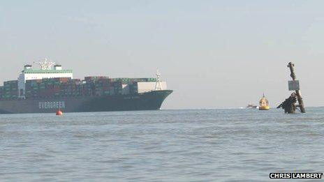 A ship passes the exclusion zone