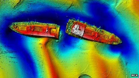 Sonar image of the wreck