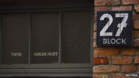 Picture shows the entrance to a Permanent Exhibition SHOAH at the Auschwitz-Birkenau State Museum, Block 27