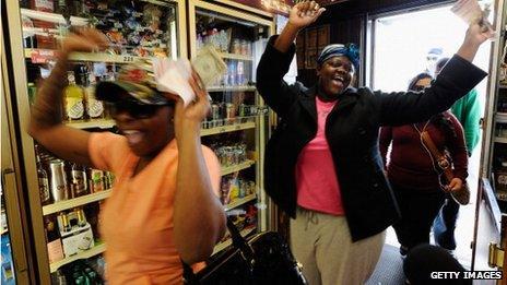 Women celebrate lottery win
