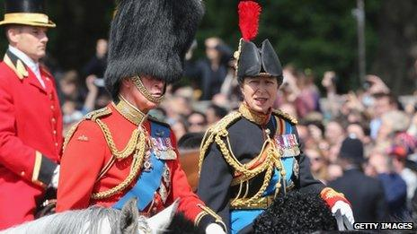 Prince Charles, Prince of Wales and Princess Anne, Princess Royal on horseback during the annual Trooping the Colour Ceremony at Buckingham Palace