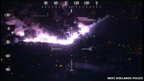 Police aerial photograph of the fire