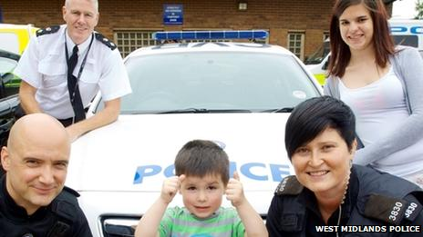 PC Nick Mansell, Taylor Price and PC Claudette Jordan (back) Chief Superintendent Andy Nicholson and mum Chloe Price