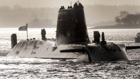 HMS Astute sailing up Gareloch on the Firth of Clyde