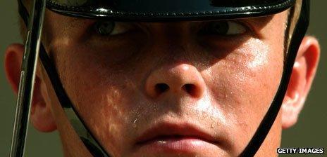 Guardsman sweating