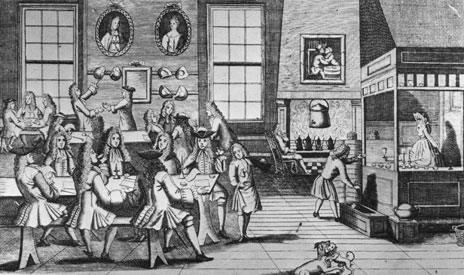 London coffee house, circa 1740
