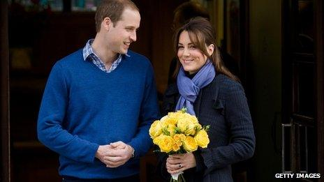 File picture from 6 December 2012 of the Duke of Cambridge and his wife Catherine, the Duchess of Cambridge