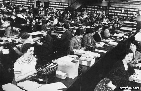 """A """"typing pool"""", a room full of female typists"""