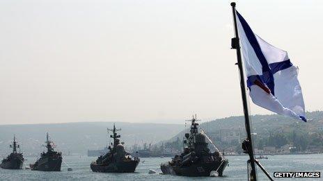 Russian Navy ships at anchor in Sevastopol