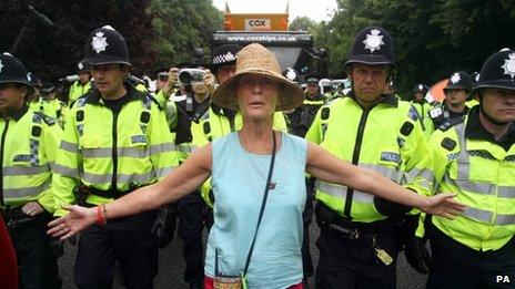 Protester at the test drilling site near Balcombe on Friday