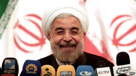 Hassan Rouhani at a press conference on 17 June 2013, following his election win