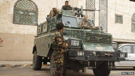 Police securing a street leading to the Yemeni embassy