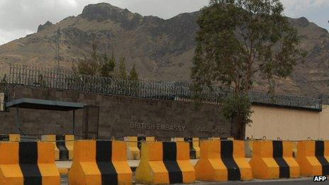 British embassy in Sanaa, Yemen (3 August 2013)