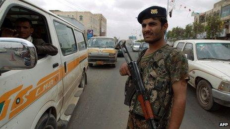 Yemeni soldier near Sanaa airport. 6 Aug 2013