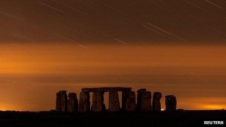 Perseid shower over Stonehenge