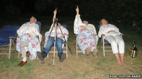 Residents of Ripley, Surrey camp out to observe at the meteor